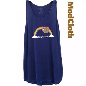 Modcloth Hang In There Sloth On Rainbow Tank Top